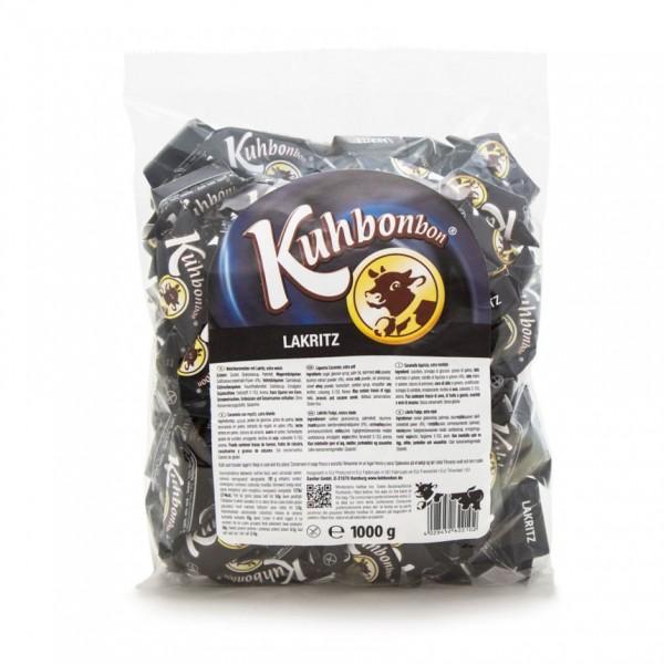 Kuhbonbon Lakritz 1000g - schwarzes Weichkaramell