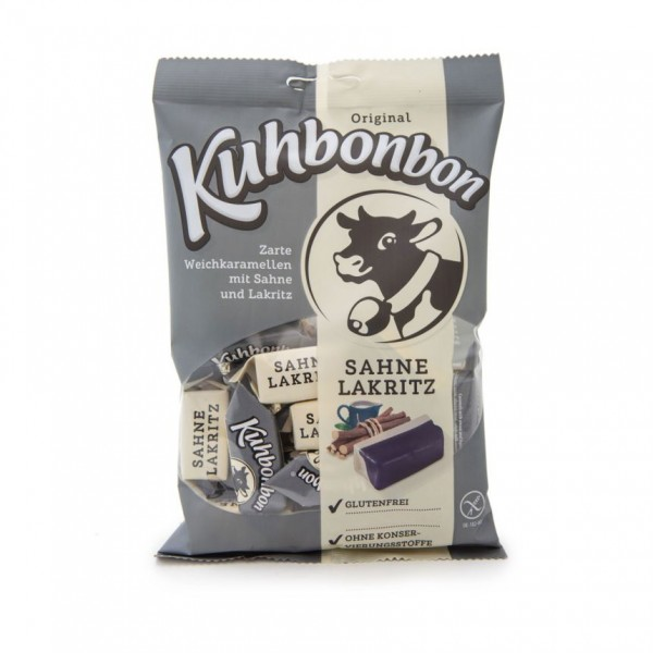 Kuhbonbon Cream Licorice - soft caramel candy with 2 distinctive layers