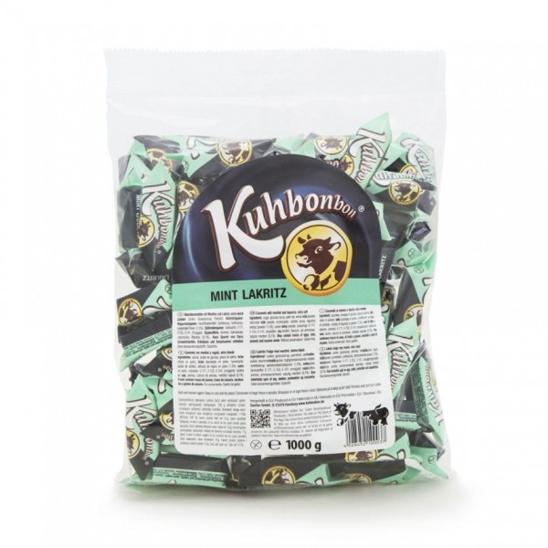 Bulk pack of two-layered soft caramels with mint licorice flavor