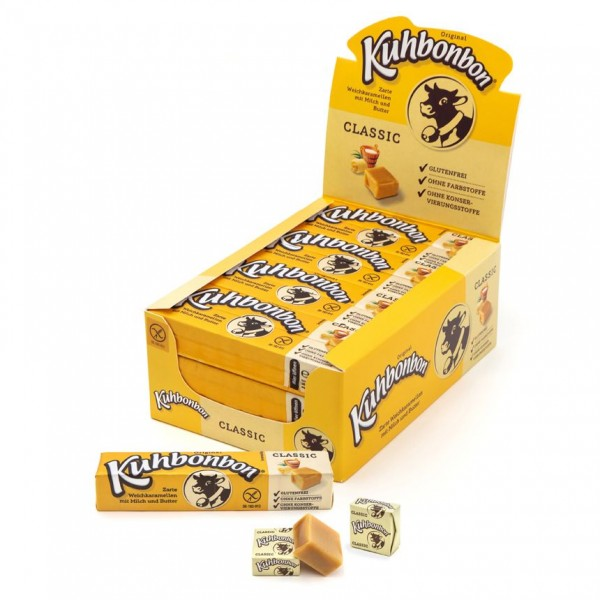 Our display contains 24 stick packs of individually wrapped soft caramel cubes