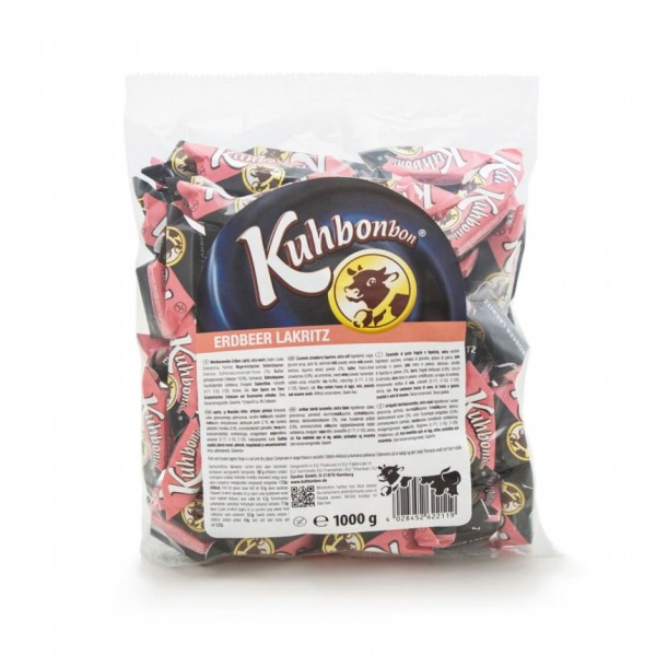 Bulk pack of soft caramels with strawberry licorice flavor