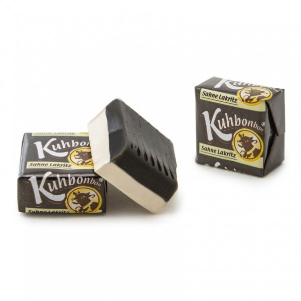 Individually wrapped soft caramel squares with cream licorice flavor - caramels with 2 layers