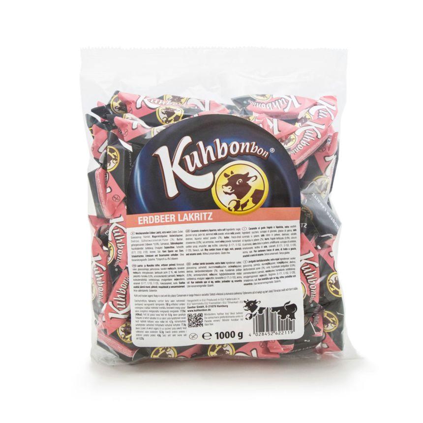 kuhbonbon erdbeer lakritz 1000g zweischichtiges karamellbonbon im xl beutel kuhbonbon online. Black Bedroom Furniture Sets. Home Design Ideas