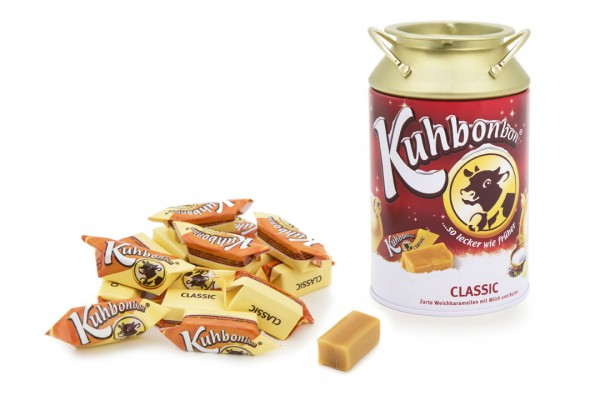 Kuhbonbon milk tin in our winter edition, filled with 200g finest soft caramels