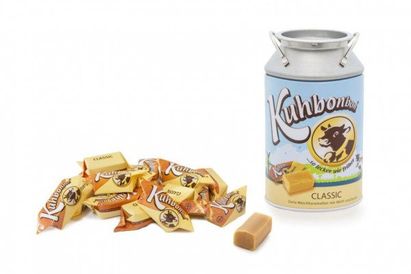 Milk can with 200 grams of traditional soft caramel candy
